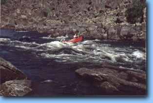 Charging down Deadman's Canyon on the Porcupine River